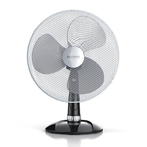 Brandson - Tischventilator 40cm | Tisch Ventilator mit 3-Leistungsstufen | Schreibtischventilator oszillierend | klein und leise | 50W | Neigungswinkel ca. 30Grad | Oszillation ca. 85Grad | silber