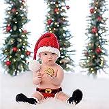 Fliyeong Weihnachten Kostüm Mütze Neugeborenes Baby Weihnachten Santa gestrickt häkeln Fotografie Prop Kostüm Outfits