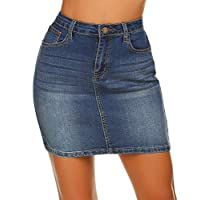 Women's Classic A-Line Denim Jean Short Skirt, Dark Blue, X-Large