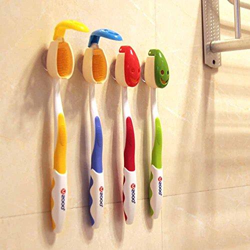 HuntGold 4X Lächeln Gesicht Design Mini Badezimmer Reise Saugnapf Zahnbürstenhalter Schalendeckel