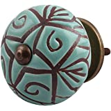 Indian-Shelf Handmade Ceramic Green Drawer/Dresser Knobs (CK-1386)