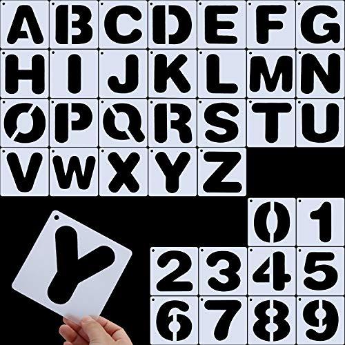 Yaomiao Briefschablonen, Alphabetvorlagen, Alphabet Schablonen Wiederverwendbare Kunststoff Kunst Handwerk Schablonen mit Zahlen (Stil B)