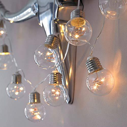 Wokee Lichterkette-4 Meters Globus Schnur Licht mit 10 Glühbirnen-Lichterkette Glühbirne Runde Kugel Lichtanordnung Outdoor Garten Licht Innen/Außen Hängendes Licht String für Patio, Café Bars
