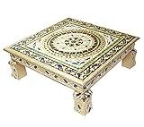 #3: Meenakari Puja Bajot/Table/Chowki ganpati sinhasan (Hindu Pooja, Indian Religious Chaurang) (15 x 15 x 5 inch)