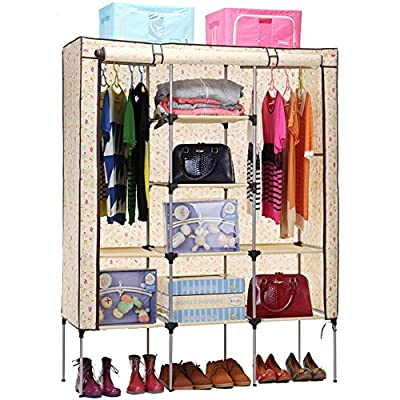 Aojia Canvas Wardrobe Clothes Hanging Rail Cupboard Clothes Storage Organiser 8105Yellow - cheap UK light shop.