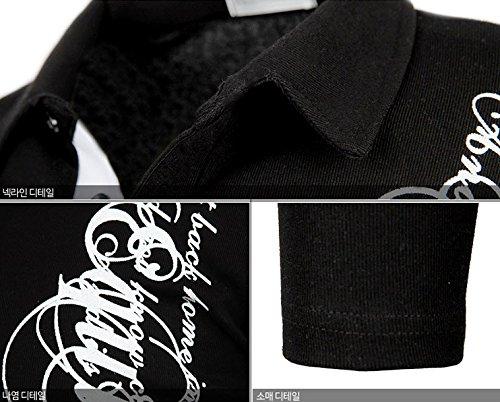 Herren Premium Alphabet Langarm Kragen / Poloshirts T-Shirts Polo Shirts Black