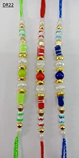 Handmade Free Size Rakhi//Rakhri//Friendship Bracelet Thread with Multi-Coloured Beads in Traditional Indian Colours Design 5931 Set of Two Rakhi Bracelets in Individual Designs