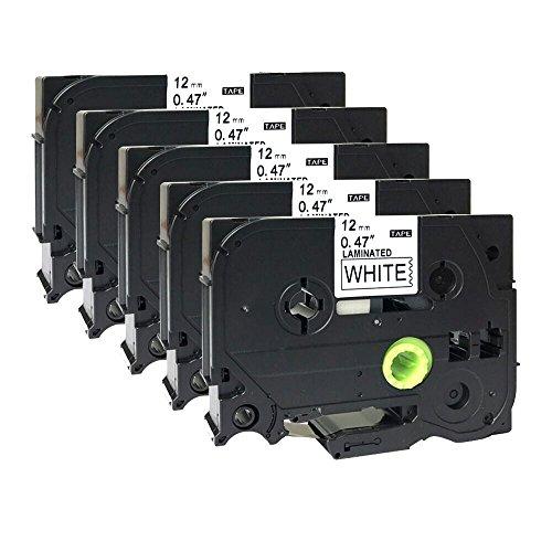 5x schwarz auf weiß Etikettenband kompatibel für Brother TZ 231/TZE 23112selbstklebend laminiert