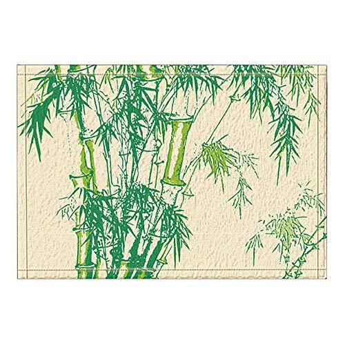 vrupi Hojas bambú Verde alfombras baño Color marrón Antideslizante Felpudo Piso Entrada Puertas Exteriores para Interiores Alfombra baño para niños Alfombra baño 15.7x23.6in