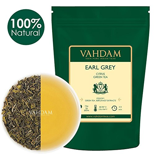 Foglie di tè verde earl grey dell'himalaya (100 tazze), tè verde darjeeling di altissima qualità miscelato con estratti naturali di bergamotto, direttamente dalle piantagioni in india, 100g (set of 2)