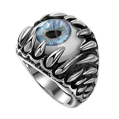 Vektenxi Teufel-Augen-Ring der Premium-Qualität Männer gotischer Schädel-Drachenklaue-Evil Blaue/rote Augen