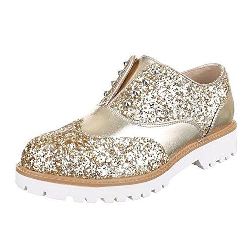 Ital-design Pantofola Scarpe Da Donna Low-top Block Tacco Moderno Scarpe A Tacco Basso Doro