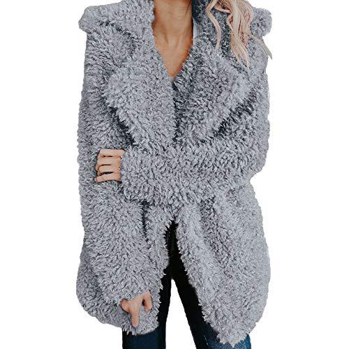 (iHENGH Damen Winter Jacke Dicker Warm Bequem Slim Parka Mantel Lässig Mode Frauen künstliche Wolle Revers Oberbekleidung)