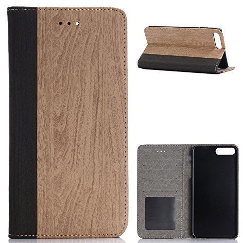 KM-WEN® Schutzhülle für Apple iPhone 7 Plus (5,5 Zoll) Bookstyle Holz Muster PU Leder Wallet Case Flip Cover Hülle Tasche Schutzhülle mit Standfunktion Kartenfächer für Apple iPhone 7 Plus (5,5 Zoll) Farbe-8