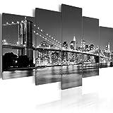 decomonkey Bilder New York 225x100 cm 5 Teilig Leinwandbilder Bild auf Leinwand Vlies Wandbild Kunstdruck Wanddeko Wand Wohnzimmer Wanddekoration Deko Stadt City Architektur