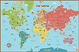 Wallpops - Cartina geografica del mondo per bambini, autoadesiva