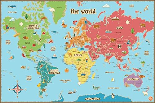 Wallpops Kinder-Weltkarte, selbstklebend -