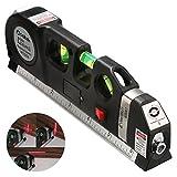 Meccion Mehrzweck-Laser-Messlineal mit Laser-Maßband, 2,4 m + Maßband, verstellbar, Standard und metrische Lineale