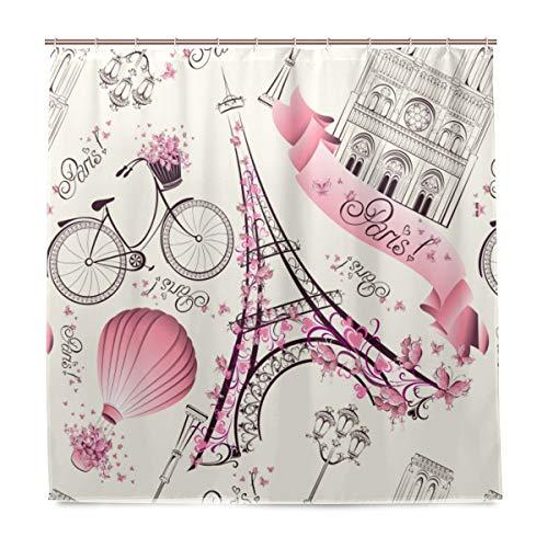 (Wamika Paris Eiffelturm Badezimmer Dusche Vorhang Liner, Pink Floral und Heißluftballon Design Haltbarer Stoff Schimmelresistent Wasserdicht Bad Badewanne Vorhänge mit 12Haken 183,0cm x183,0cm)