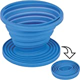 Kaffeefilterhalter aus Silikon, hitzebestöndig, ø 11,5cm, blau: Kaffeefilter Halter Camping Handfilter Faltbar Filteraufsatz Dauerfilter
