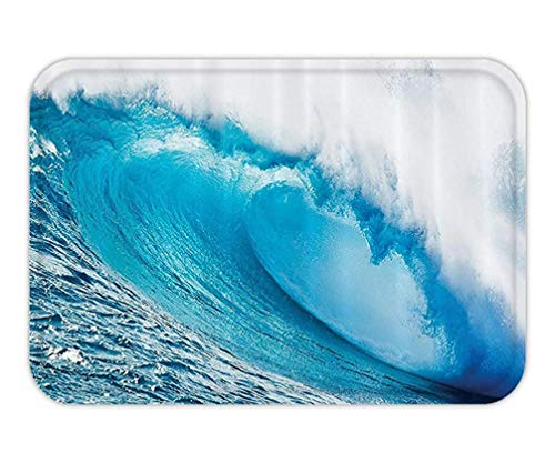 CHKWYN Doormat Ocean Decor Collection Surfing Water Tube AppearAfter Forceful Giant Wave CurlItself on Sea Picture Polyester Fabric Bathroom Extra Long Blue Aqua White.jpg 15.7X23.6 Inches/40X60cm -