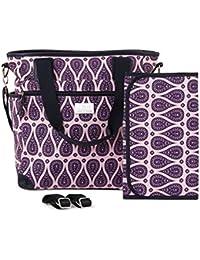 Designer Baby Diaper Bag - Large Tote Nappy Bag. Adjustable Messenger / Shoulder Strap. Includes Matching Change...