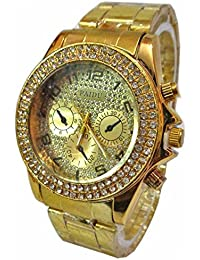 Capture FashionPaidu Stone Studded Gold Theme Analog Men Wrist Watch