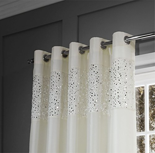 Catherine Lansfield Glitzy Eyelet Curtains Cream, 90×90 Inch