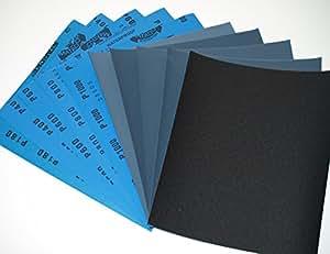 Starcke Matador Lot de 10 morceaux de papier abrasif sec  mouillé 2 feuilles de chaque grain 180  400  600  800  1000