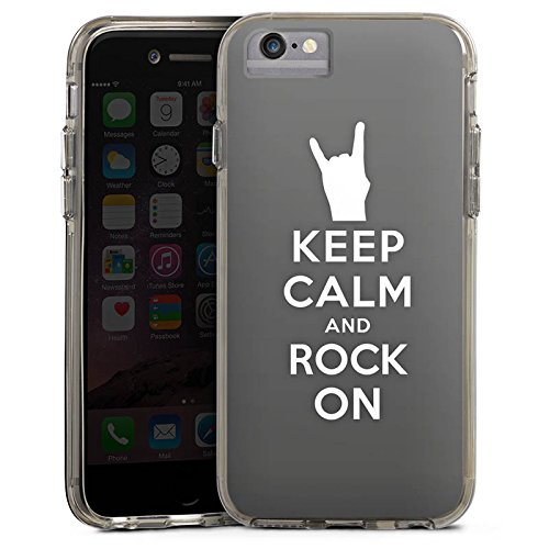 Apple iPhone 8 Bumper Hülle Bumper Case Glitzer Hülle Keep Calm Festival Rock Bumper Case transparent grau