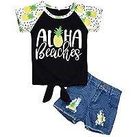 Chennie 2pcs / Set Camiseta con Estampado de Letras para niños + Traje de Ropa para niños pequeños para 1-6t
