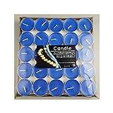 Qinlee 50 Stück Teelicht Herzform Set Romantische Herz Kerzen (Runde Blau)