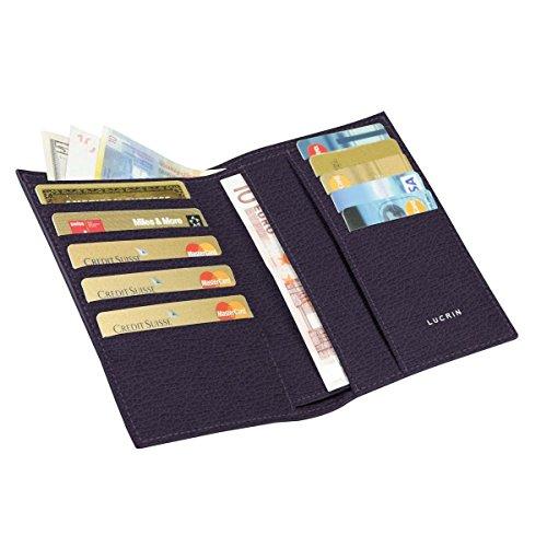 Lucrin–Portafoglio e Porta Carte di Credito–Vacchetta ruvida–Pelle–Viola