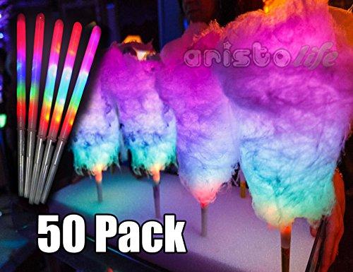 8Leuchtmodi LED Cotton Candy Cones 50Einheiten LED Sticks für Partys Glow Sticks (Glow-sticks Bulk Kaufen)