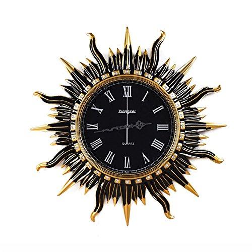 HONG- Uhr Zeit Im europäischen Stil Retro Dekorative Wanduhr Wohnzimmer Runde Sonne Form Kunst Mute Uhren Wohnaccessoires DIY Hallwand
