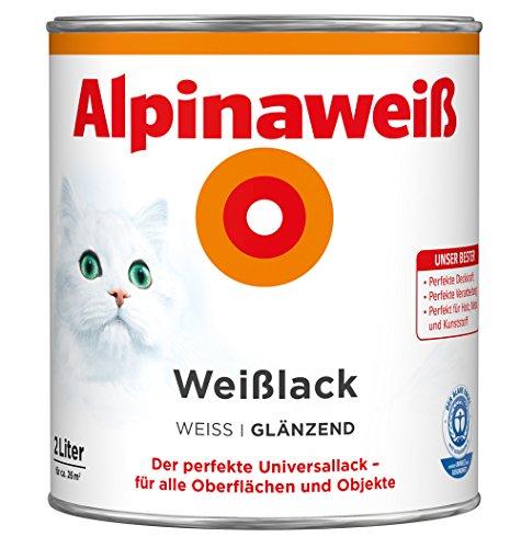 ALPINA Alpinaweiss Lack Farbe Weisslack weiß GLÄNZEND 2,0 Liter