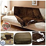 MP Essentials Brown Luxury Soft Plush Fleeced Heated Throw Blanket with Timer & 10 Heat Settings - 120x160cm (Brown)