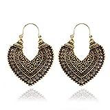 EisEyen Herz Ohrringe Trachtenschmuck Verziert Bohemian Vintage Ohrringe lang Hängend Antik Style Silber Gold Ornament