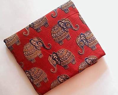 Perennial Women Cotton Kalamkari unstitched fabric 100 cms Red base Elephants