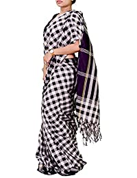 Vastravay Cotton Made Black Color Checked Ethnic Wear Saree For Women's