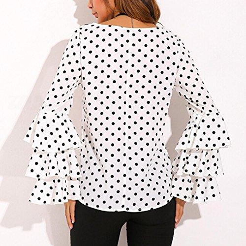 Amlaiworld Moda donna Campana manica sciolto polka dot shirt O-Neck camicetta Bianco