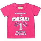 This Is What An Awesome 1 Jahr Old Looks Like pink T-Shirt 1. Geburtstag Baby Kleinkind Kinder verfügbar in den Größen 0-6 Monate bis 14-15 Jahre NEU Baby Schwester Geschenk - Rosa, 12-18 Months