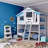 BIBEX Jugend- und Kinderbett, Doppelbett, Etagenbett, Spielhaus in zartem Creme-weiß/Himmel-blau (ohne Unterbett, mit Tür und Regal)