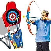 Mecotech Arcos y Flechas para Niños Juego de Disparos de Juguete con Establecer 1 Arco, Portaflechas, 3 Sucker Flechas y Objetivo con soporte