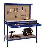 VonHaus Steel Boltless Workbench Worktable Workshop Station with Drawer and Pegboard + 12 Pegs Massive Capacity 230 kg (120L x 60W x 155H cm):