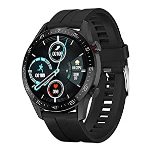 IKALL Full Touch Smartwatch Fitness Tracker with Blood Pressure Heart Rate Monitor Waterproof Exercise Multiple Exercise Mode Compatible with iPhone and Android Smartphone for Men, Women (Black)