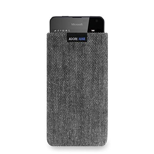 Adore June Business Tasche für Microsoft Lumia 650 Handytasche aus charakteristischem Fischgrat Stoff - Grau/Schwarz | Schutztasche Zubehör mit Bildschirm Reinigungs-Effekt | Made in Europe