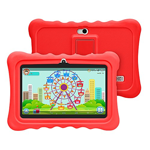 Yuntab Q88H Tablet para niños - Tablet Infantil de 7 Pulgadas iWawa Software Pre-instalado ( Android 4.4.2 KitKat, Quad-Core, WiFi, Bluetooth, HD 1024x600, 8GB, Doble Cámara, Google Play) (Q88H, RED)