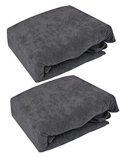 KMP SPANNBETTLAKEN Frottee Spannbetttuch Bettlaken mit Gummizug viele Farben und Größen (Grau, 200 x 220 cm)