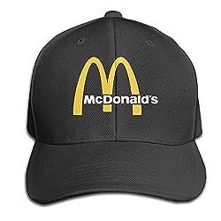 Hittings Traveleat Mcdonalds 90s Logo Unisex Peaked Baseball Cap Snapback Hats Black